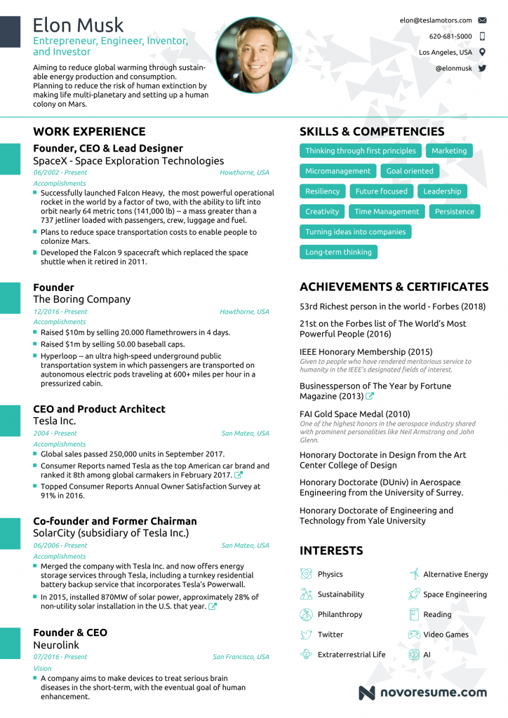 Elon Musk's Resume Template